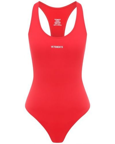 Красный слитный купальник Vetements