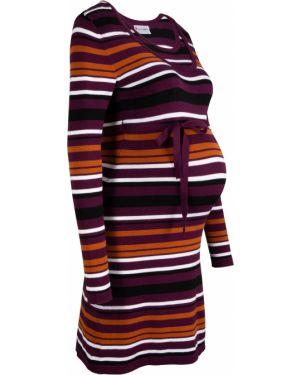 Платье для беременных с поясом с вырезом Bonprix