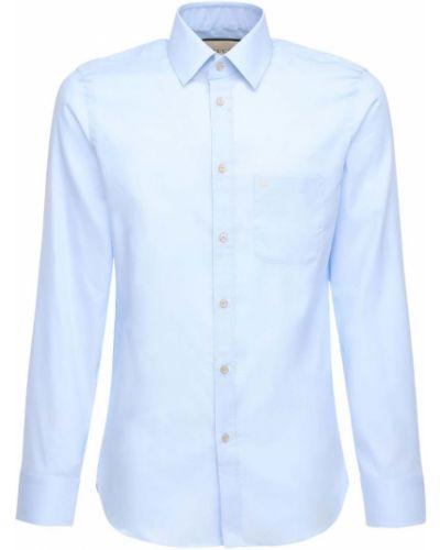 Niebieski bawełna koszula oxford z haftem z mankietami Gucci