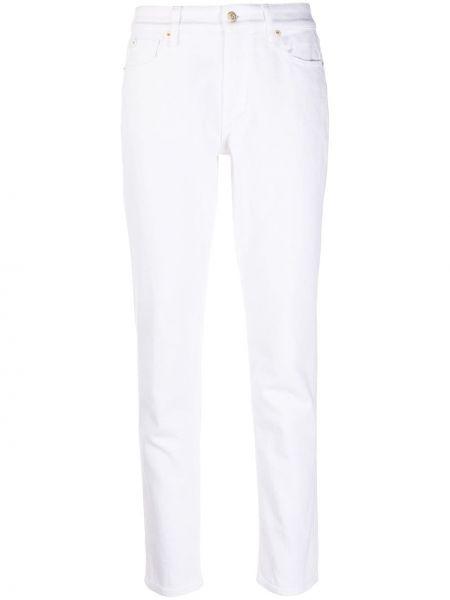 Хлопковые белые с завышенной талией джинсы с высокой посадкой стрейч Ralph Lauren