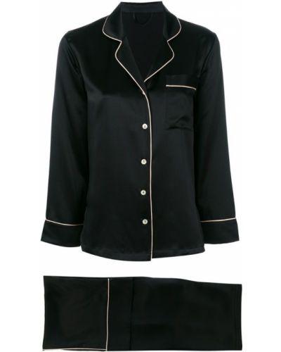Пижама шелковая черная Fleur Of England