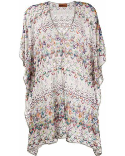 Свободное белое пляжное платье с V-образным вырезом свободного кроя Missoni Mare