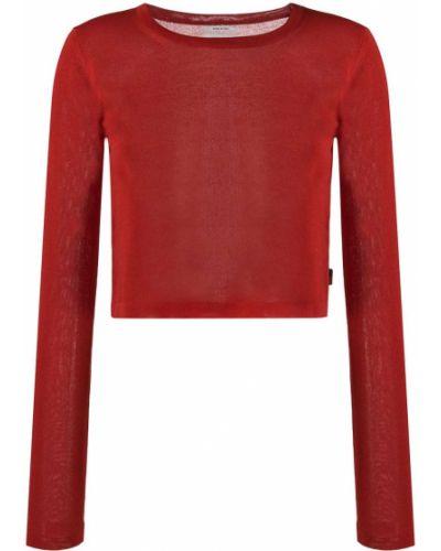 Красный вязаный джемпер в рубчик из вискозы с вырезом Woolrich