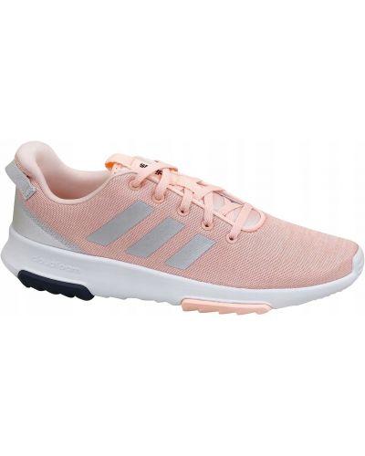 Różowe joggery materiałowe sznurowane Adidas
