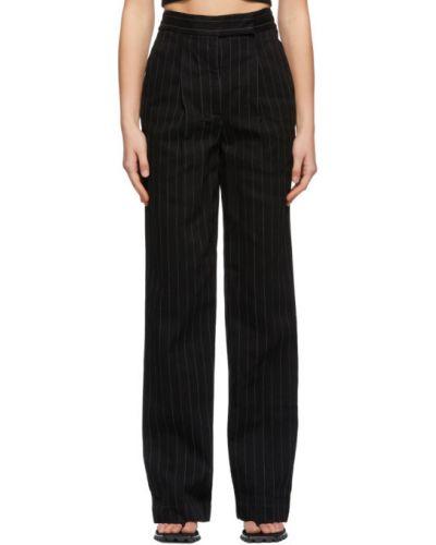 Czarne spodnie bawełniane z paskiem Alexander Wang