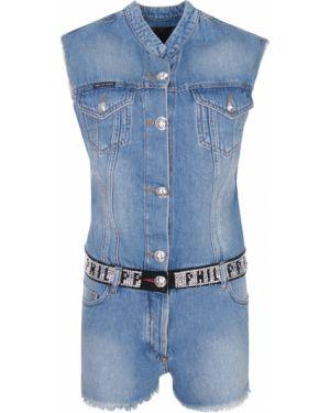 Хлопковый синий джинсовый комбинезон на пуговицах с карманами Philipp Plein