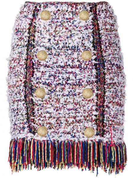 Белая плиссированная юбка мини твидовая Balmain