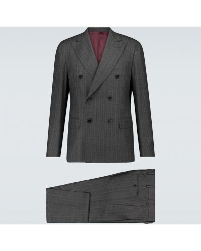 Шерстяной костюмный костюм двубортный Caruso