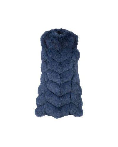 Синяя жилетка с мехом из лисы Max & Moi