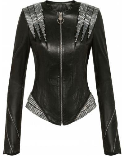 Кожаная куртка черная на молнии Philipp Plein
