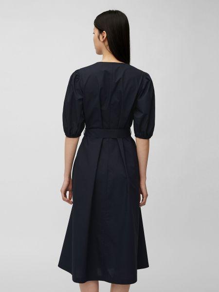 Синее платье миди с поясом с вырезом Marc O'polo
