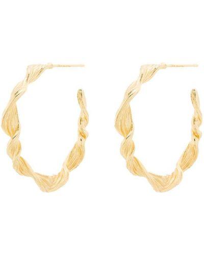Золотистые желтые серьги-гвоздики позолоченные Anni Lu