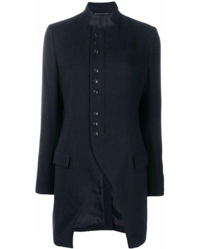 Синее шерстяное длинное пальто Y's
