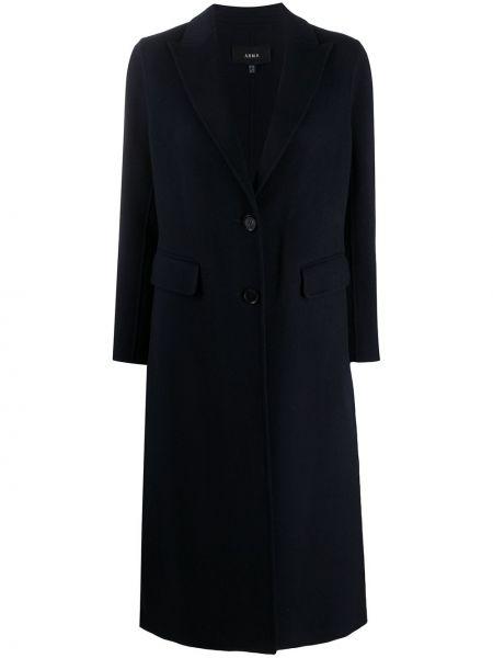Однобортное синее шерстяное пальто на пуговицах Arma