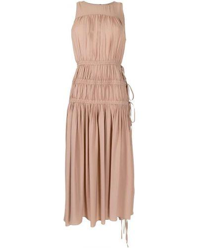 Шелковое платье миди без рукавов с оборками N21