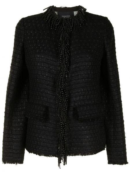 Черный удлиненный пиджак твидовый с бахромой Giambattista Valli