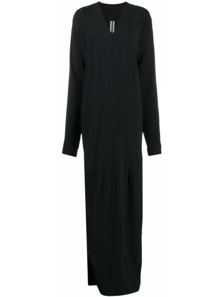Czarny długo sukienka z wiskozy z dekoltem w szpic z draperią Rick Owens