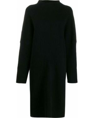Черное платье миди в рубчик Oyuna