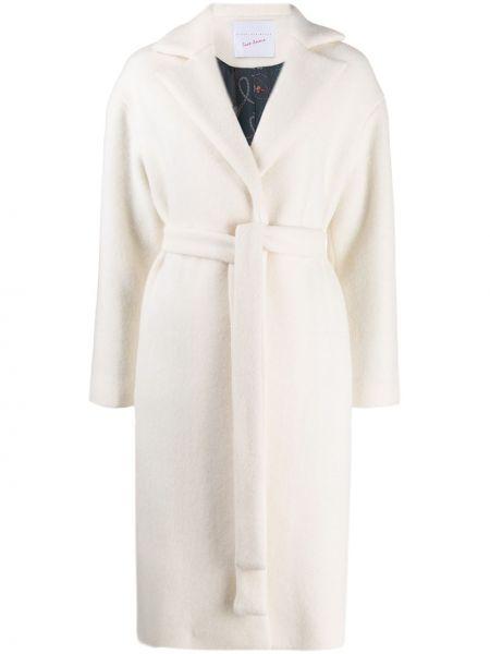 Шерстяное белое длинное пальто с поясом Giada Benincasa