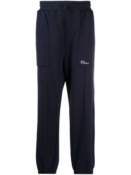 Niebieskie spodnie bawełniane z printem Drole De Monsieur