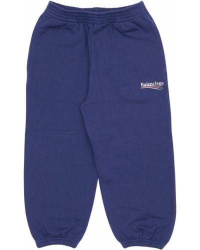 Bawełna niebieski joggery z mankietami na gumce Balenciaga