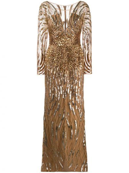 Вечернее платье с пайетками с V-образным вырезом Zuhair Murad