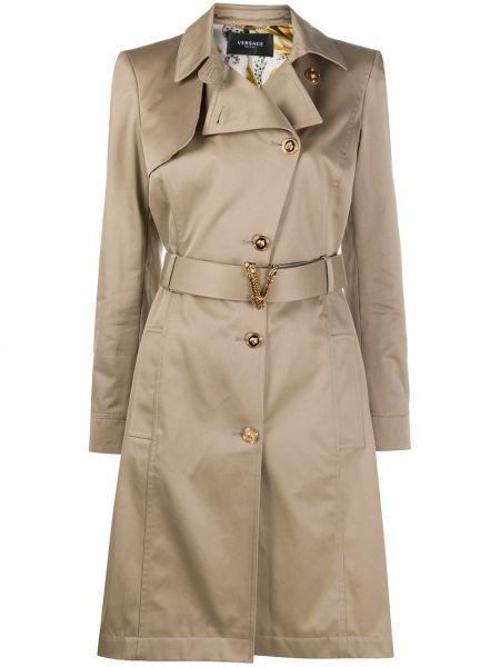 Бежевое кожаное пальто классическое с воротником Versace