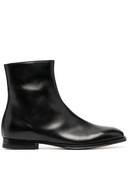 Черные кожаные сапоги с круглым носом Paul Smith