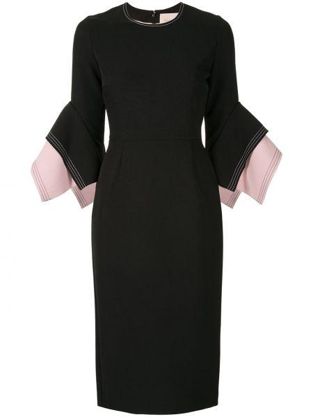 Платье миди черное с рукавами Roksanda