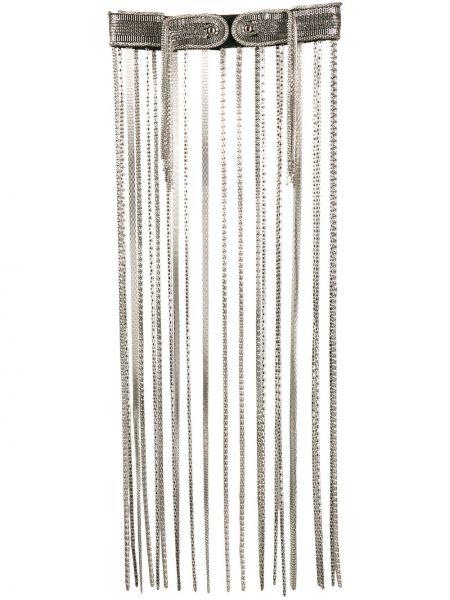 Кожаный серебряный ремень с декоративной отделкой с поясом Christopher Kane