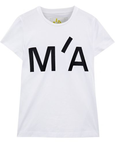 Biały t-shirt bawełniany z haftem Marques Almeida