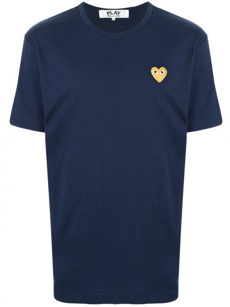 Хлопковая синяя прямая рубашка с короткими рукавами с вышивкой Comme Des GarÇons Play