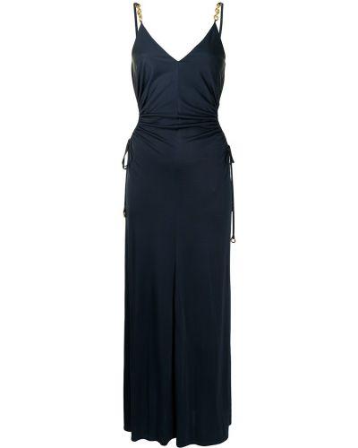 Шелковое синее платье без рукавов Manning Cartell