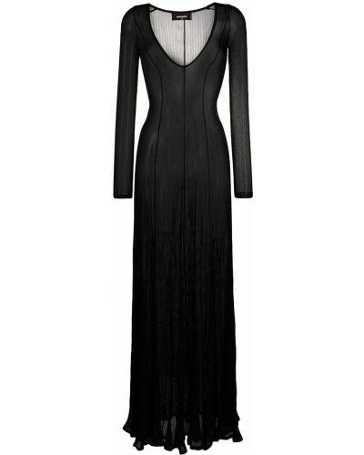 Черное платье макси с длинными рукавами с вырезом Dsquared2