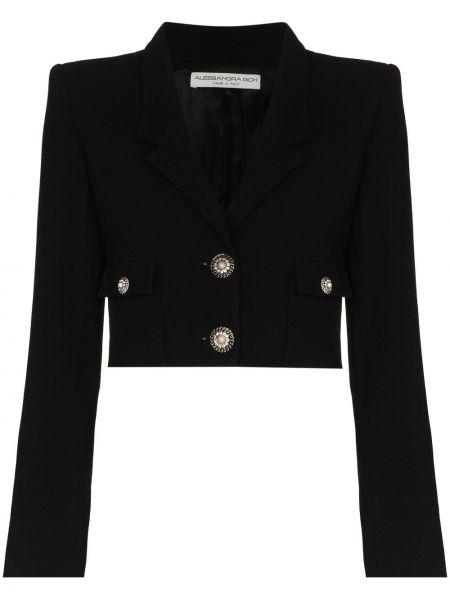 Шерстяная черная длинная куртка с манжетами Alessandra Rich