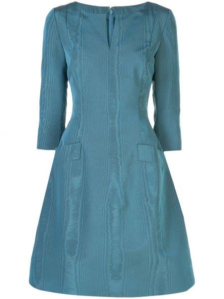 С рукавами синее платье с вырезом с карманами Oscar De La Renta