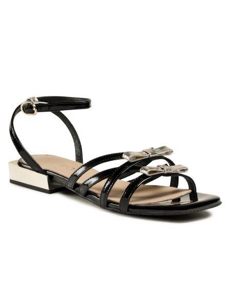 Czarne złote sandały skórzane Edeo
