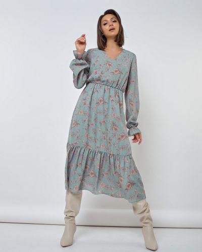 Расклешенное шифоновое с рукавами платье миди Jetty