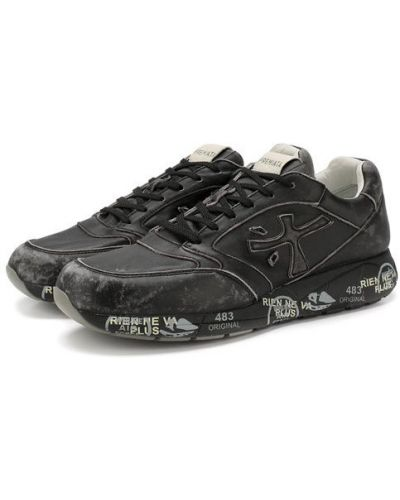 Кожаные кроссовки черные с принтом Premiata