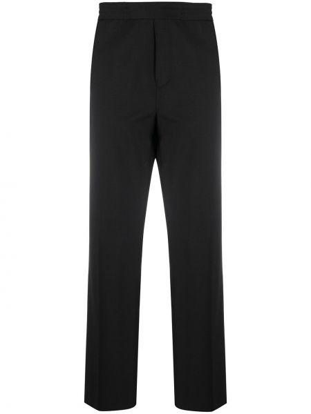Bawełna wełniany czarny spodnie o prostym kroju z łatami Acne Studios