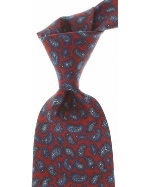 Biały krawat z jedwabiu Marinella