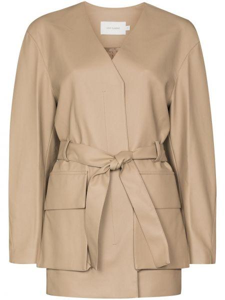 Кожаная куртка с поясом с потайной застежкой Low Classic
