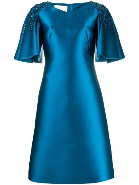 Синее шелковое платье с V-образным вырезом до середины колена Alberta Ferretti