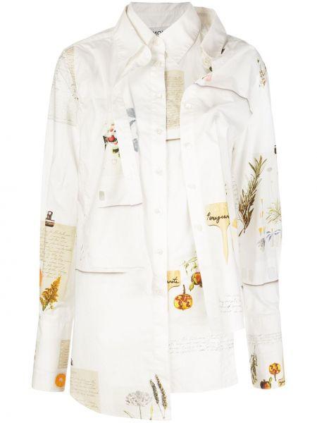 Белая асимметричная классическая рубашка с воротником на пуговицах Monse