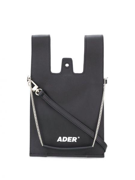 Skórzana torebka z logo czarna Ader Error