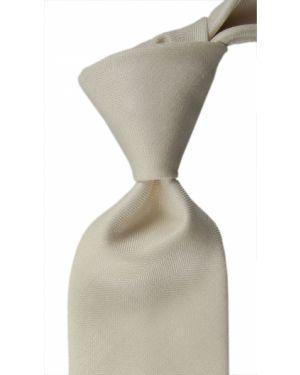 Biały krawat w paski z jedwabiu Stefano Ricci