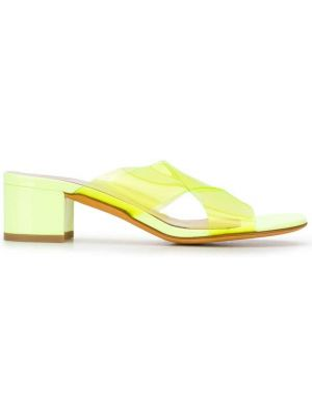 Żółte sandały skorzane na niskim obcasie Maryam Nassir Zadeh