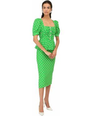 Шелковое платье миди с декольте со стразами с манжетами Alessandra Rich