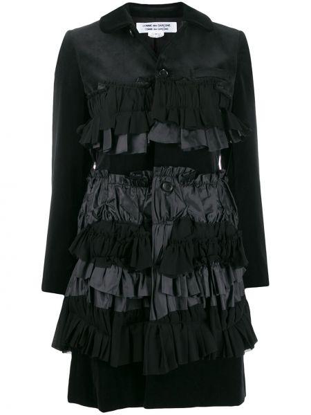 Черное длинное пальто с капюшоном с воротником Comme Des Garçons Comme Des Garçons