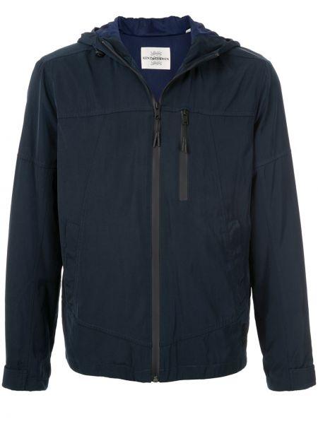 Синяя куртка с капюшоном с манжетами на молнии с карманами Kent & Curwen